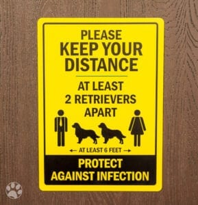 """Yellow Safety Sign that reads """"Keep Your Distance, At least 2 Retrievers Apart, At Least 6 feet, Protect against Infection 