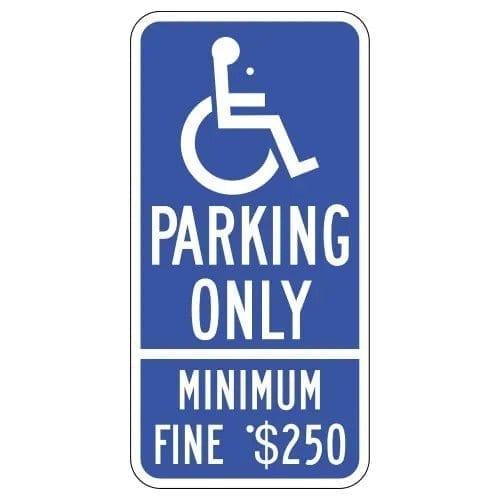 Handicap Parking Only Minimum Fine Sign : alpha dog ada signs