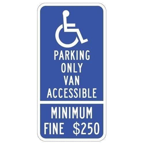 Handicap Parking Only Van Accessible 250 Fine Sign : alpha dog ada signs