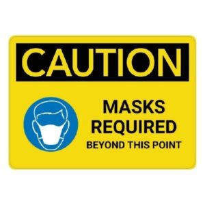 Caution - Masks Required Safety Sign : alpha dog ada signs
