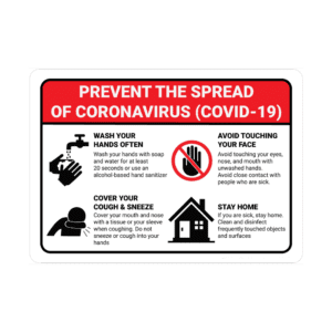 Prevent the Spread of Coronavirus Safety Sign : alpha dog ada signs
