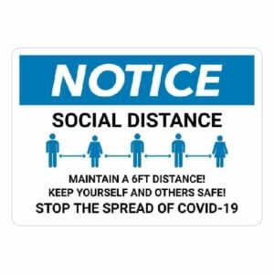 Social Distancing Notice Safety Sign : alpha dog ada signs