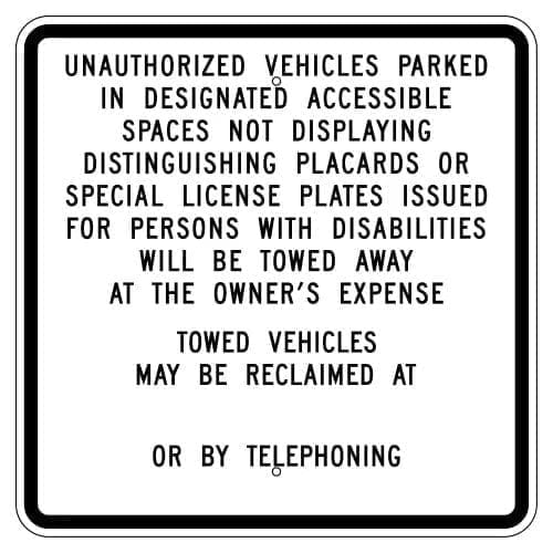 Unauthirzed Vehicles Towed Parking Sign : alpha dog ada signs