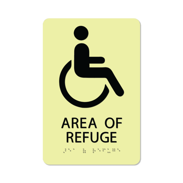 photoluminescent braille area of refuge sign aor69 lg 01 : alpha dog ada signs