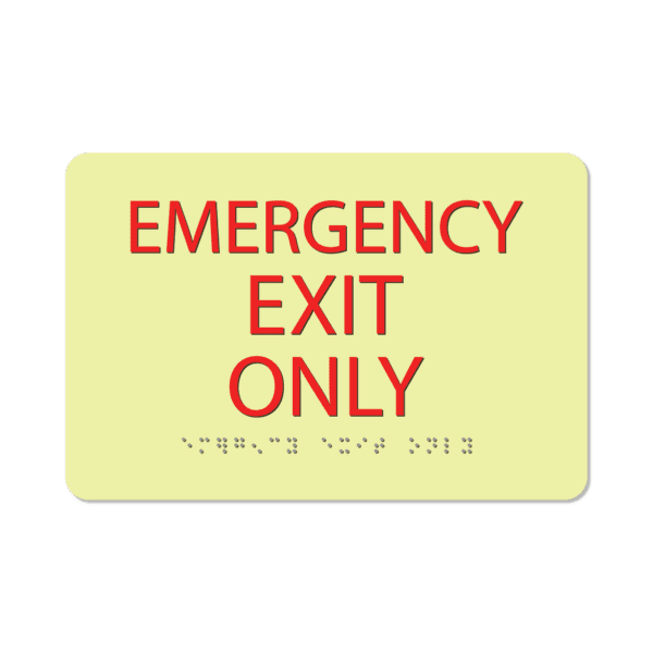 photoluminescent braille emergency exit only sign eeo69 lg 01 : alpha dog ada signs