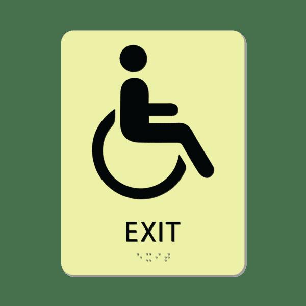photoluminescent braille handicap exit sign iex86 lg 01 : alpha dog ada signs