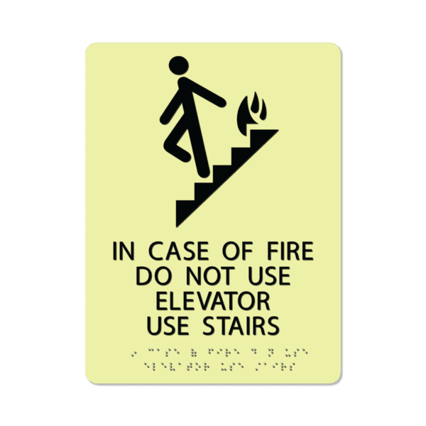 photoluminescent braille in case of fire do not use elevator sign icofd912 lg 01 : alpha dog ada signs