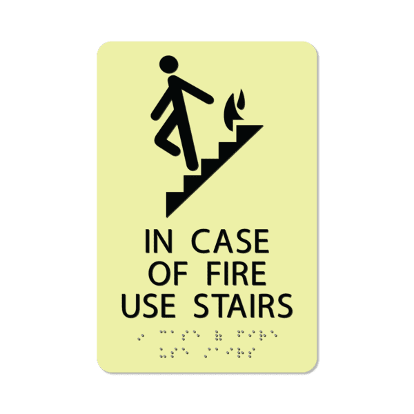 photoluminescent braille in case of fire use stairs sign icofu69 lg 01 : alpha dog ada signs