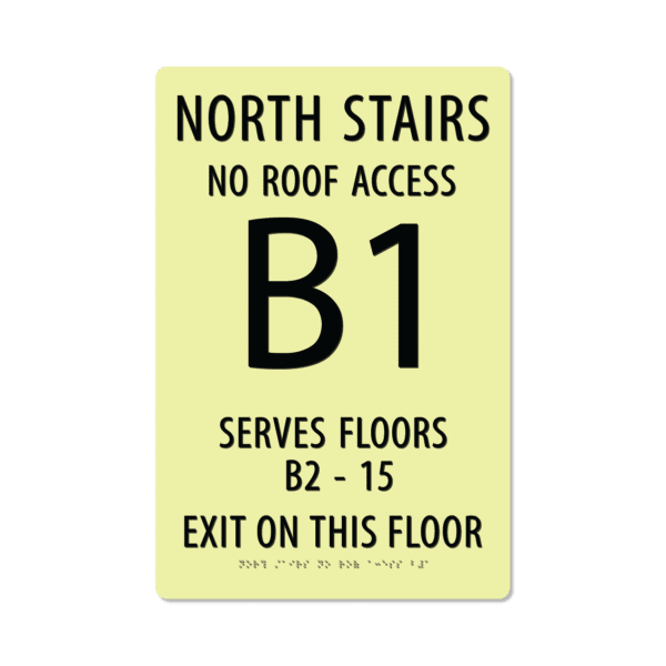 photoluminescent braille stairwell signs ss1812 lg 01 : alpha dog ada signs