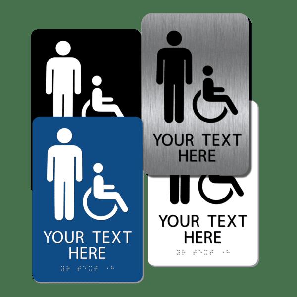 collage mens handicap restroom signs cmi96 : alpha dog ada signs