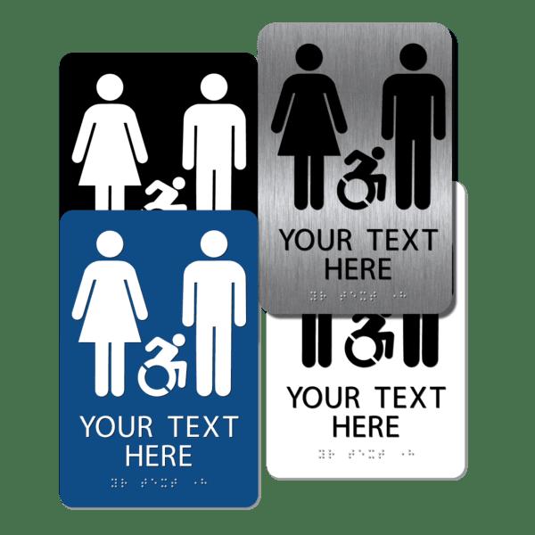 collage unisex active handicap restroom signs cuai96 : alpha dog ada signs