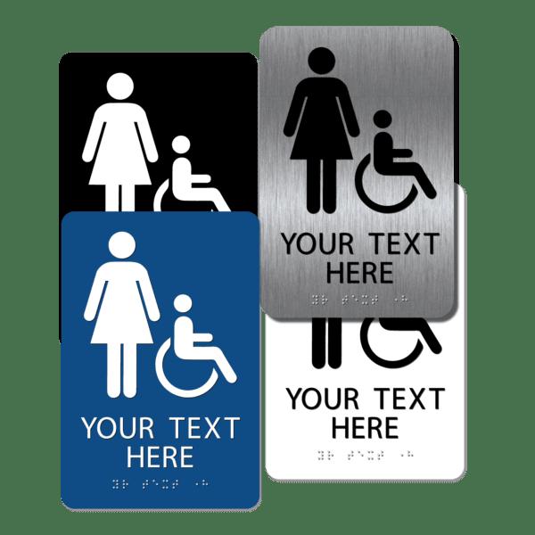 collage womens handicap restroom signs cwi96 : alpha dog ada signs