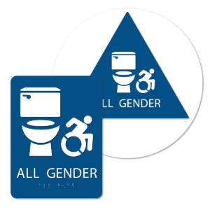 all gender active handicap bathroom sign bundle blue agtai bun : alpha dog ada signs