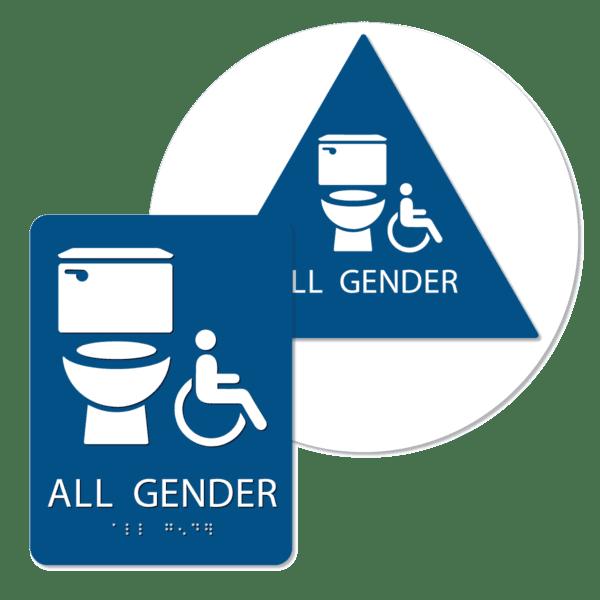 all gender handicap bathroom sign bundle blue agti bun : alpha dog ada signs