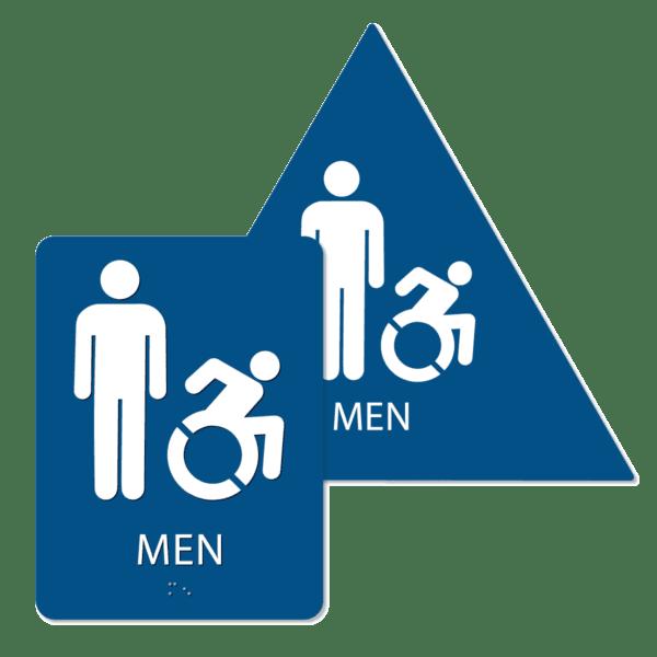 mens active handicap bathroom sign bundle blue mai bun : alpha dog ada signs