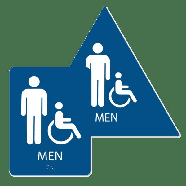 mens handicap bathroom sign bundle blue mi bun : alpha dog ada signs