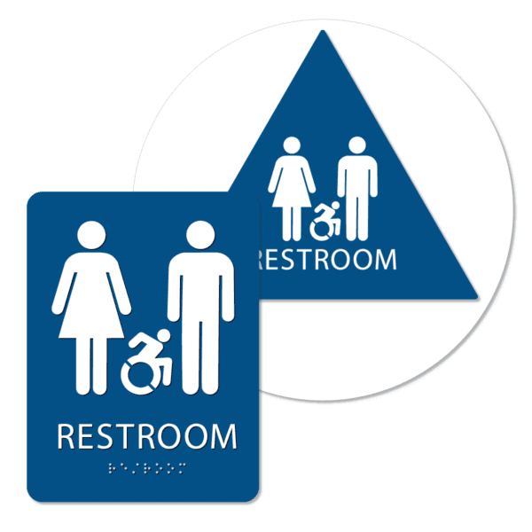 unisex active handicap bathroom sign bundle blue rai bun : alpha dog ada signs