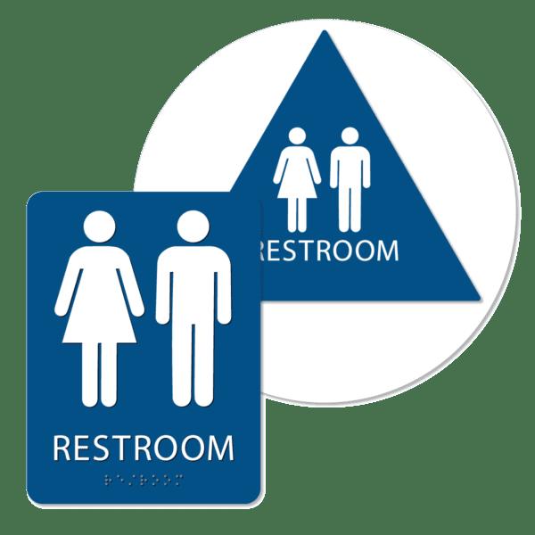 unisex bathroom sign bundle blue r bun : alpha dog ada signs