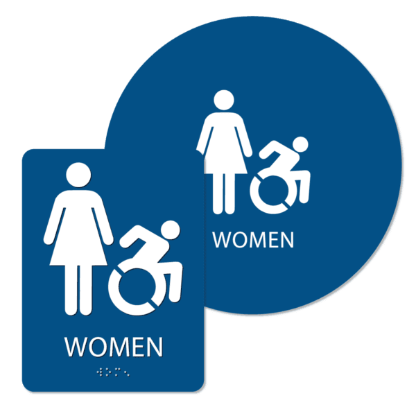 womens active handicap bathroom sign bundle blue wai bun : alpha dog ada signs