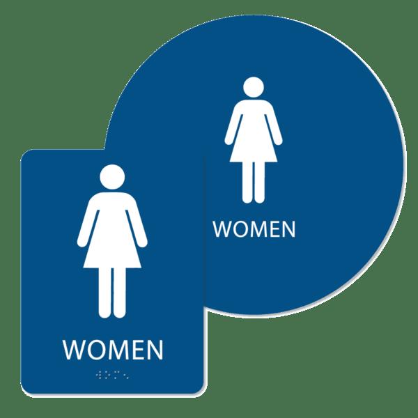 womens bathroom sign bundle blue w bun : alpha dog ada signs