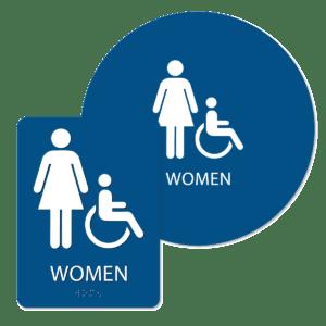 womens handicap bathroom sign bundle blue wi bun : alpha dog ada signs
